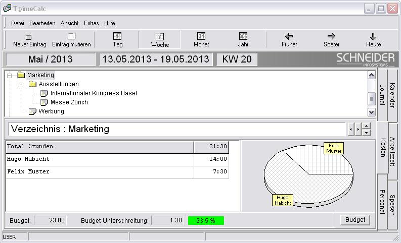 Screenshot vom Programm: T@imeCalc